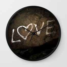 One Love Brown Rock with White Graffiti Photograph Wall Clock