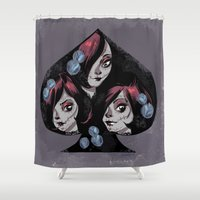 sugar skulls Shower Curtains featuring sugar skulls by mauriciosalmon