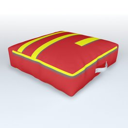 Bright Red and Bright Yellow Graphic Design Outdoor Floor Cushion
