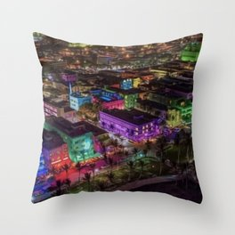 Midnight South Beach, Miami; A Portrait Painting by Jeanpaul Ferro Throw Pillow