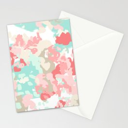 Florence - abstract trendy colors gender neutral seaside coral tropical minimal mermaids Stationery Cards