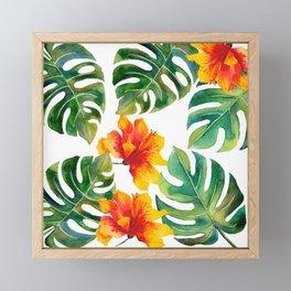 Monstera And Hibiscus Framed Mini Art Print