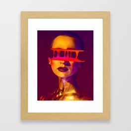 Half Face Glitch poster (gradient and liquid) Framed Art Print