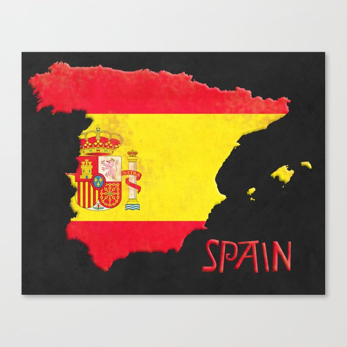 Spain Vintage Map Canvas Print