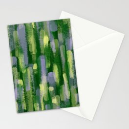 Brushstrokes in Green Stationery Cards