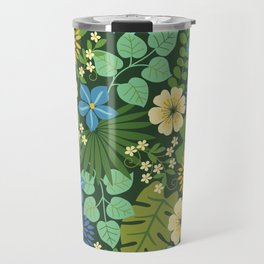 Tropical Blue and Yellow Floral Travel Mug