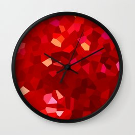 Modern Stained Glass Red Abstract Mosaic Wall Clock