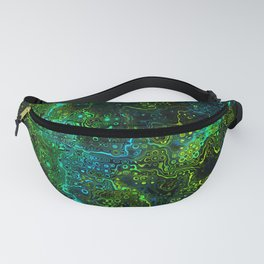 We Are All Connected. Neon Green Abstract Pattern Fanny Pack
