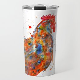 Watercolor Rooster Travel Mug