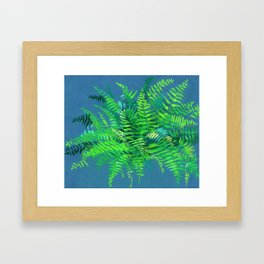 Fern, floral art, forest plants, green & blue Framed Art Print