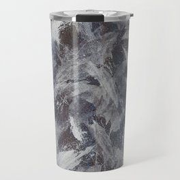 White Ink on Brown and Blue Background Travel Mug