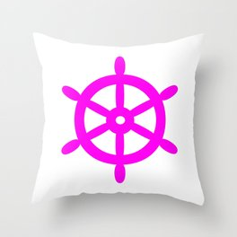 Ship Wheel (Magenta & White) Throw Pillow