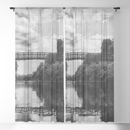 Zilker Park- Austin, Texas - Black and White Sheer Curtain