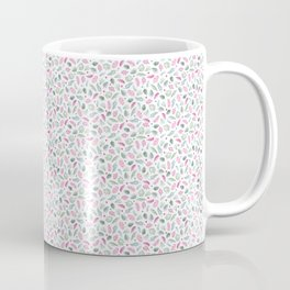 Red and Green Floral Doodles on White. Watercolor Flowers and Leaves. Scandinavian Style Summer Patt Coffee Mug