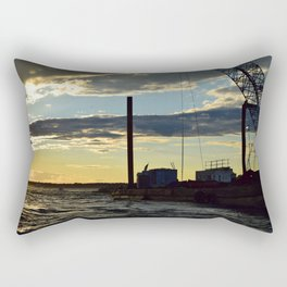 Sunset Over the Barge Rectangular Pillow