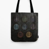 skyrim Tote Bags featuring Shield's of Skyrim by VineDesign