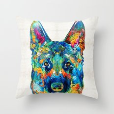 Colorful German Shepherd Dog Art By Sharon Cummings Throw Pillow