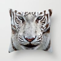 boy Throw Pillows featuring BLUE-EYED BOY by Catspaws