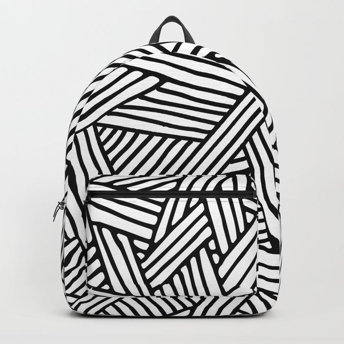 Abstract white & black Lines and Triangles Pattern-Mix and Match with Simplicity of Life Backpack