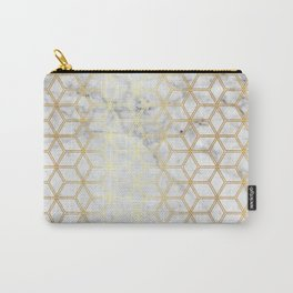 Geometric Hive Mind Pattern - Marble & Gold #510 Carry-All Pouch