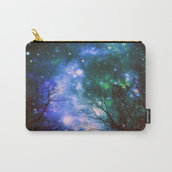 Black Trees Violet Green Space Carry-All Pouch