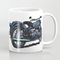 bmw Mugs featuring BMW R50 MOTORCYCLE by Ernie Young