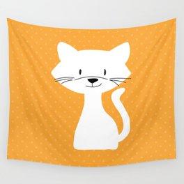 Yellow white cat Wall Tapestry