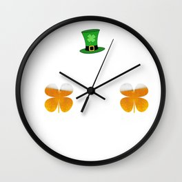 Lucky Irish St. Patrick's Day Uncle Sam Beer Clover Frunk As Duck Wall Clock