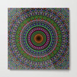 Hypnotic Church Window Mandala Metal Print