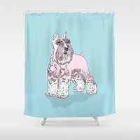 schnauzer Shower Curtains featuring Schnauzer cyan by biene2001