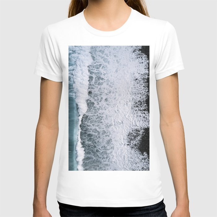 Aerial of a Black Sand Beach with Waves - Oceanscape T-shirt