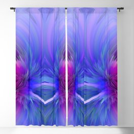 blue pink abstract feathers Blackout Curtain