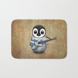 Baby Penguin Playing Scottish Flag Guitar Bath Mat