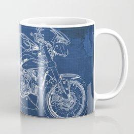 Motorcycle blueprint, white and blue art Coffee Mug