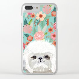 Shih Tsu floral dog portrait cute art gifts for dog breed lovers Clear iPhone Case