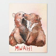 Bear cub kiss Canvas Print