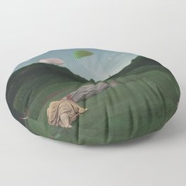 Camping Out with Friends on the Golf Course Under Parachutes by Pyke Koch Floor Pillow