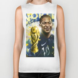 KYLIAN MBAPPÉ PSG football player, world cup champion, best young french football player star portra Biker Tank
