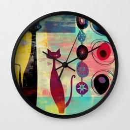 Mid-Century Modern 2 Cats - Graffiti Style Wall Clock