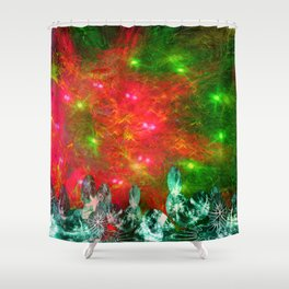 Psychedelic Christmas Light Show Shower Curtain