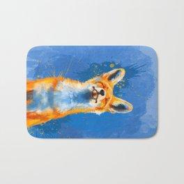 Happy Fox, inspirational animal art Bath Mat