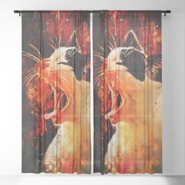 evil cat mouth wide open splatter watercolor Sheer Curtain