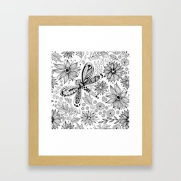 Dragonfly and flowers doodle Framed Art Print