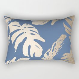 Simply Tropical Palm Leaves White Gold Sands on Aegean Blue Rectangular Pillow