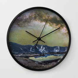 Milky way over loveland pass Wall Clock