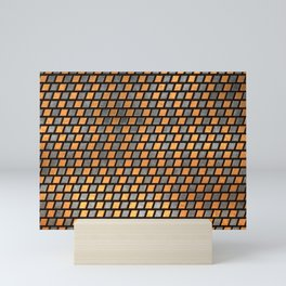 Irregular Chequers - Black Steel and Copper - Industrial Chess Board Pattern Mini Art Print