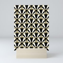 Black, White and Gold Classic Art Deco Fan Pattern Mini Art Print