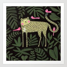 TIGER WITH PINK BIRDS Art Print