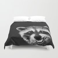 raccoon Duvet Covers featuring Raccoon  by Laura Graves