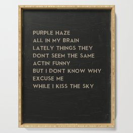 Purple Haze Music Poster of Jimi Hendrix Song Lyrics - Excuse Me While I Kiss the Sky Serving Tray